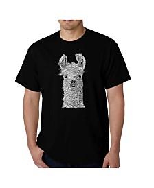 LA Pop Art Mens Word Art T-Shirt - Llama