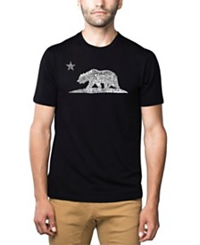 LA Pop Art Mens Premium Blend Word Art T-Shirt - California Bear