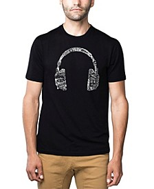 Mens Premium Blend Word Art T-Shirt - Headphones - Music in Different Languages