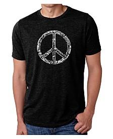LA Pop Art Mens Premium Blend Word Art T-Shirt - Peace Sign in 77 Languages