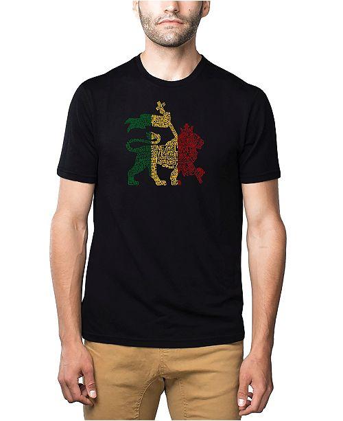 LA Pop Art Mens Premium Blend Word Art T-Shirt - Rasta Lion - One Love