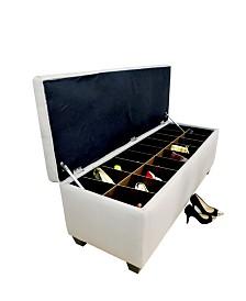 MJL Furniture Designs Sole Secret Button Tufted Large Shoe Storage Bench