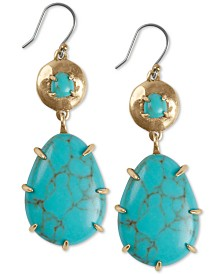 Lucky Brand Gold-Tone Imitation Turquoise Double Drop Earrings