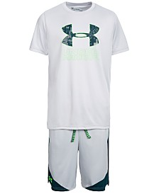 Under Armour Big Boys Charged Cotton® Filled Logo T-Shirt & Stunt Shorts Separates