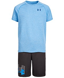 Under Armour Big Boys Logo-Print T-Shirt & Prototype Logo Shorts Separates