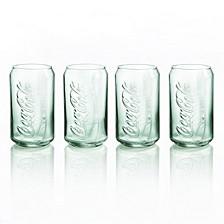 Coca-Cola Glass Can Georgia Green- Set of 4