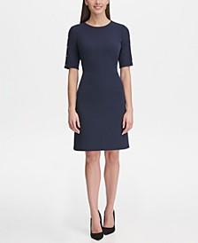 Button-Sleeve Scuba Dress