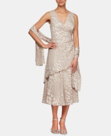 Alex Evenings Printed Tiered-Hem Dress & Shawl