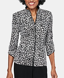 Animal-Print Zip-Up Jacket