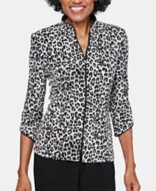 Alex Evenings Animal-Print Zip-Up Jacket
