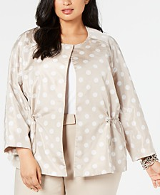 Anne Klein Plus Size Printed Open-Front Jacket