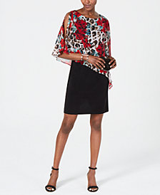 Connected Cold-Shoulder Overlay Sheath Dress