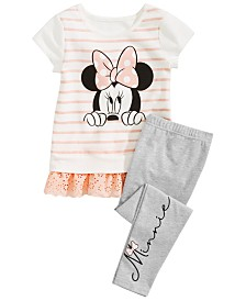 Disney Little Girls 2-Pc. Peeking Minnie Tunic & Printed Leggings Set, Created for Macy's