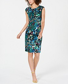 Printed Ruched Sheath Dress