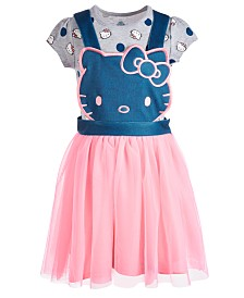 Hello Kitty Little Girls 2-Pc. Print T-Shirt & Pinafore Dress, Created for Macy's