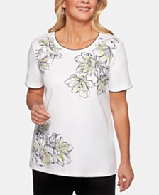 Alfred Dunner Petite Cayman Islands Embellished Top