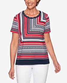 Alfred Dunner In The Navy Printed Lattice-Neck Top