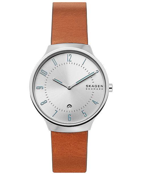 Skagen Men's Grenen Brown Leather Strap Watch 38mm