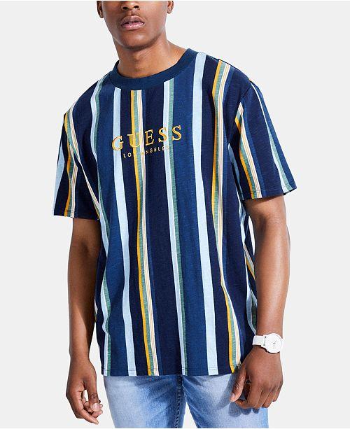 45f8e31f55 GUESS Originals Men's Striped Logo T-Shirt; GUESS Originals Men's Striped  Logo T- ...