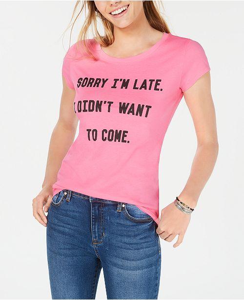 Hybrid Juniors' Sorry I'm Late T-Shirt