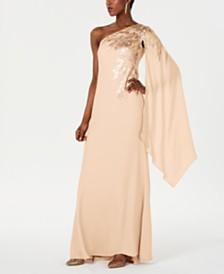 Tadashi Shoji Embellished One-Shoulder Gown