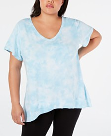 Calvin Klein Performance Plus Size Tie-Dyed High-Low Top