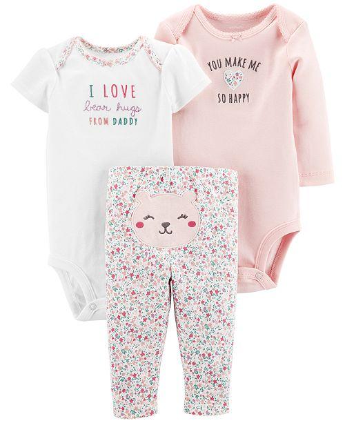 Carter's Baby Girls 3-Pc. Cotton Bodysuits & Pants Set