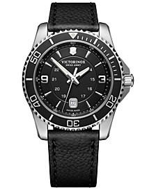 Men's Maverick Black Leather Strap Watch 43mm