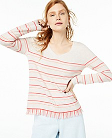 Striped Fringe-Hem Cashmere Sweater, Created For Macy's