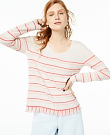 Charter Club Striped Fringe-Hem Cashmere Sweater, Created for Macy's