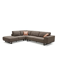 Laser 3-Pc. Fabric Bumper Chaise Sectional Sofa