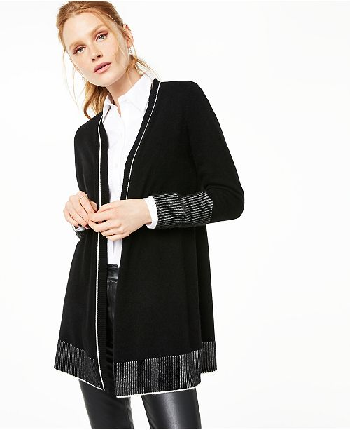 Charter Club Contrast Cashmere Cardigan, Created For Macy's