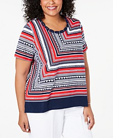 Plus Size In The Navy Striped Studded Top
