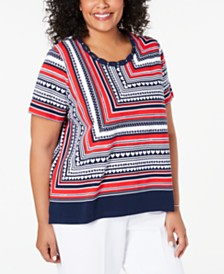 Alfred Dunner Plus Size In The Navy Striped Studded Top