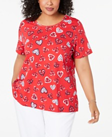 Alfred Dunner Plus Size In The Navy Heart-Print Vented-Hem Top