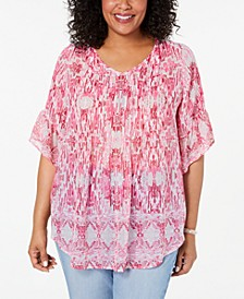 Plus Size Floral-Print Pleated Top, Created for Macy's
