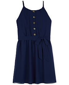 BCX Big Girls Button-Front Shift Dress