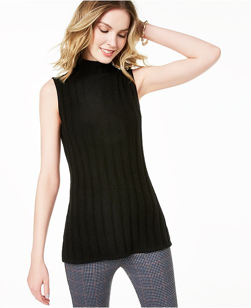 Charter Club Sleeveless Mock Neck Pure Cashmere Sweater