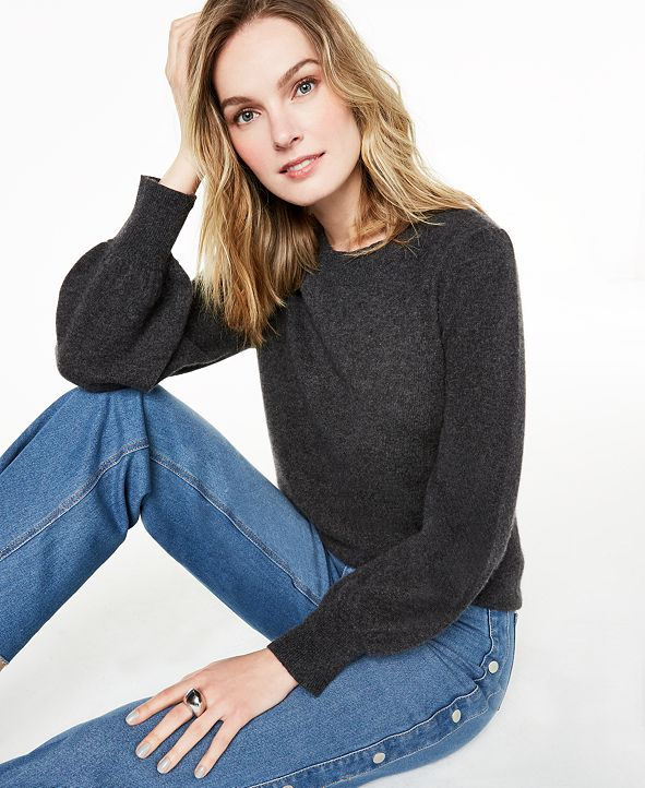 Charter Club Pure Cashmere Balloon-Sleeve Sweater, Regular & Petite Sizes, Created For Macy's