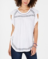 e2208842072 Style & Co Embroidered Flutter-Sleeve Top, Created for Macy's