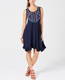 Style & Co Petite Embroidered Ruffle-Hem Dress, Created for Macy's