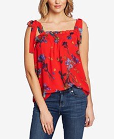 CeCe Printed Tie-Shoulder Smocked Top