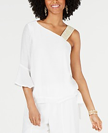 Thalia Sodi Gauze One-Shoulder Tie-Hem Top, Created for Macy's