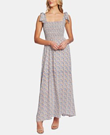 CeCe Moroccan Ditsy Smocked Shoulder-Tie Dress
