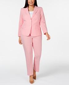 Anne Klein Plus Size Two-Button Striped Seersucker Jacket & Striped Seersucker Pants