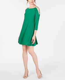 MSK Embellished Cold-Shoulder Shift Dress