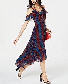INC Python Print Cold-Shoulder Midi Dress, Created for Macy's