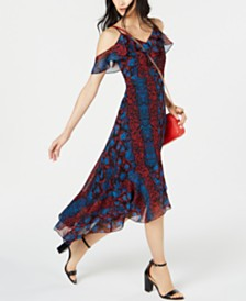 I.N.C. Python Print Cold-Shoulder Midi Dress, Created for Macy's