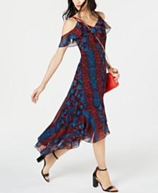 I.N.C. Python Print Cold-Shoulder Midi Dress, Created for Macy's