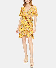 Sunrays Printed Wrap Dress